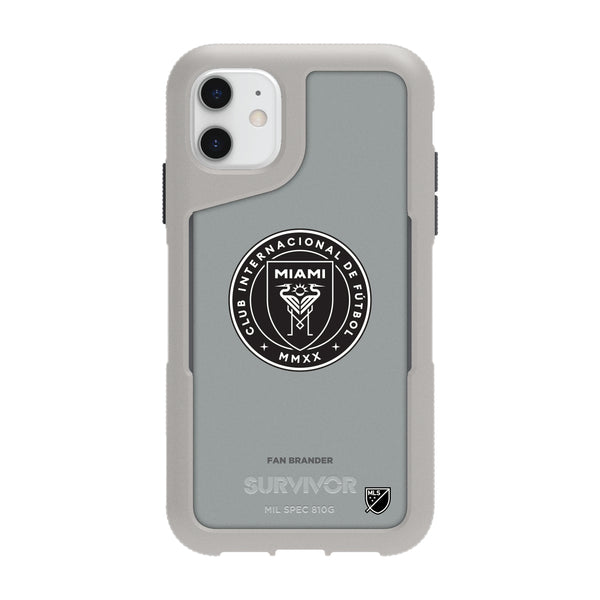 Griffin Survivor Endurance cool grey Phone case with Inter Miami CF Primary Logo in Black and White