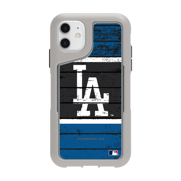 Griffin Survivor Endurance cool grey Phone case with Los Angeles Dodgers Primary Logo on Wood Design