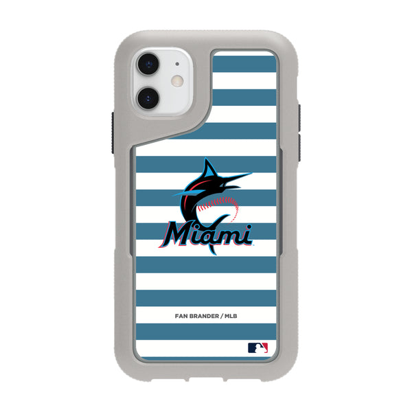 Griffin Survivor Endurance cool grey Phone case with Miami Marlins Primary Logo with Stripes