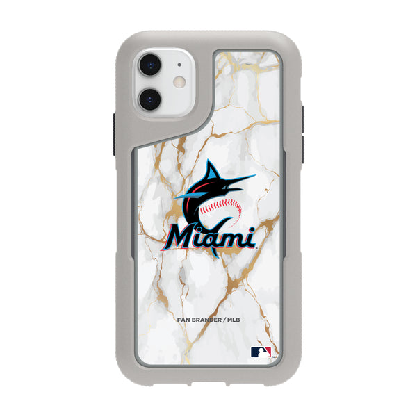 Griffin Survivor Endurance cool grey Phone case with Miami Marlins White Marble Background