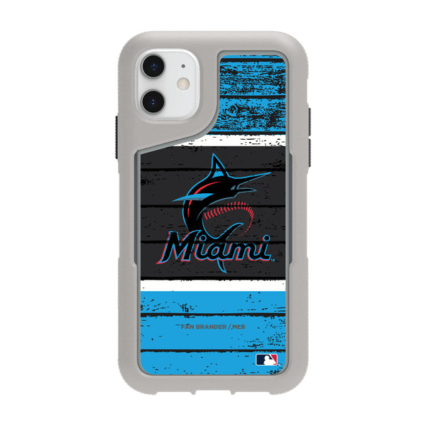 Griffin Survivor Endurance cool grey Phone case with Miami Marlins Primary Logo on Wood Design