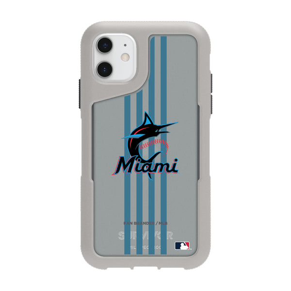 Griffin Survivor Endurance cool grey Phone case with Miami Marlins Primary Logo with Vertical Stripe