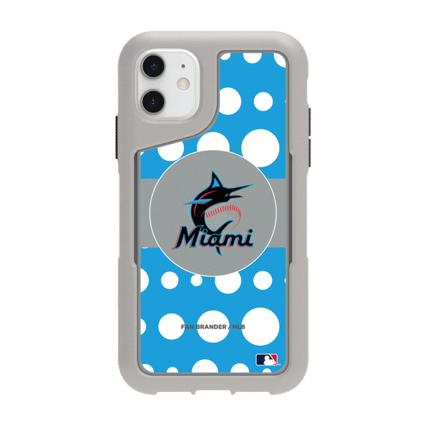 Griffin Survivor Endurance cool grey Phone case with Miami Marlins Primary Logo with Polka Dots