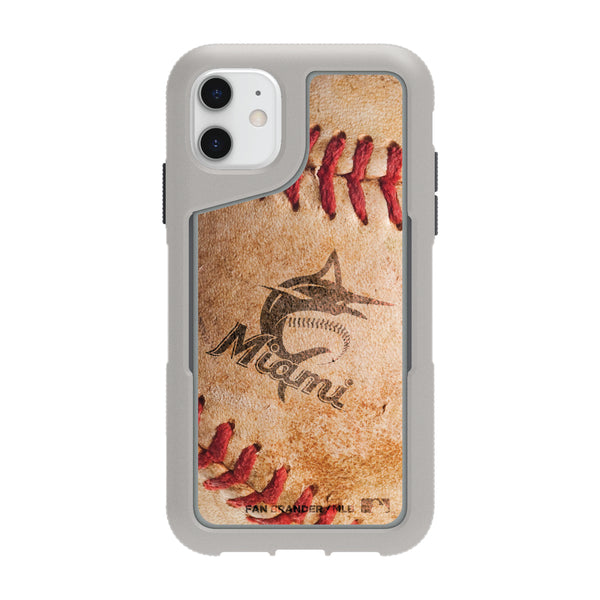 Griffin Survivor Endurance cool grey Phone case with Miami Marlins Primary Logo and Baseball Design