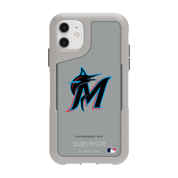 Griffin Survivor Endurance cool grey Phone case with Miami Marlins Secondary Logo