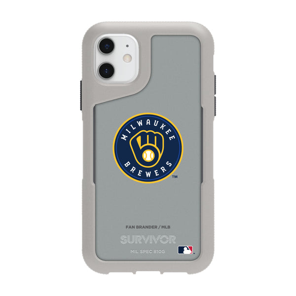 Griffin Survivor Endurance cool grey Phone case with Milwaukee Brewers Primary Logo