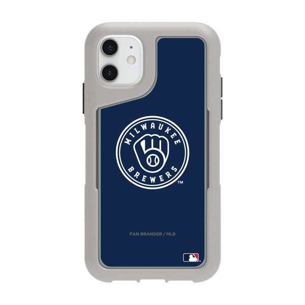 Griffin Survivor Endurance cool grey Phone case with Milwaukee Brewers Primary Logo with Team Color Background