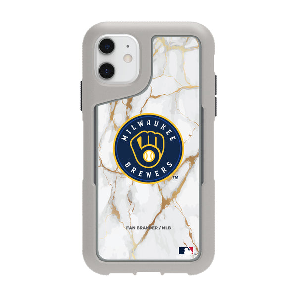 Griffin Survivor Endurance cool grey Phone case with Milwaukee Brewers White Marble Background