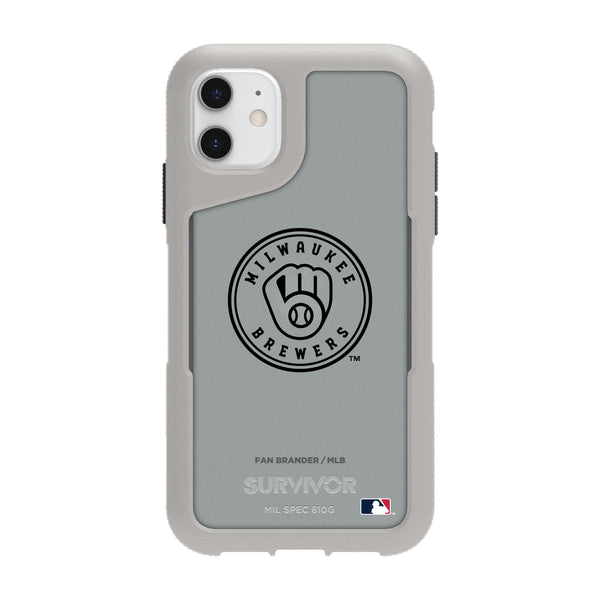 Griffin Survivor Endurance cool grey Phone case with Milwaukee Brewers Primary Logo in Black