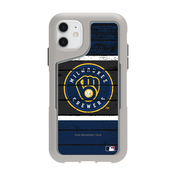 Griffin Survivor Endurance cool grey Phone case with Milwaukee Brewers Primary Logo on Wood Design