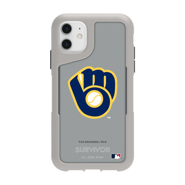 Griffin Survivor Endurance cool grey Phone case with Milwaukee Brewers Secondary Logo