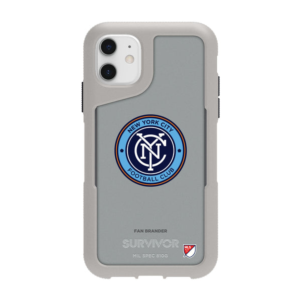 Griffin Survivor Endurance cool grey Phone case with New York City FC Primary Logo