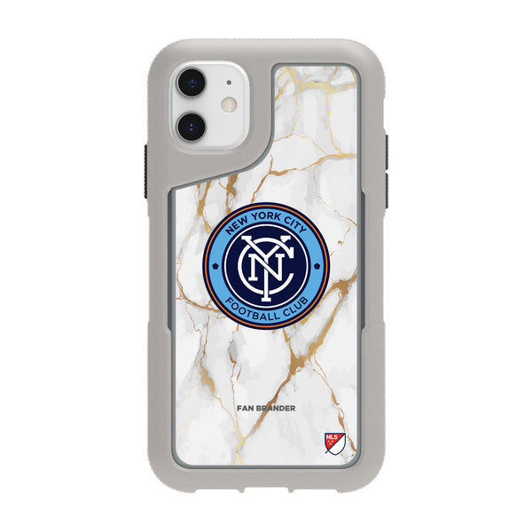 Griffin Survivor Endurance cool grey Phone case with New York City FC White Marble Design