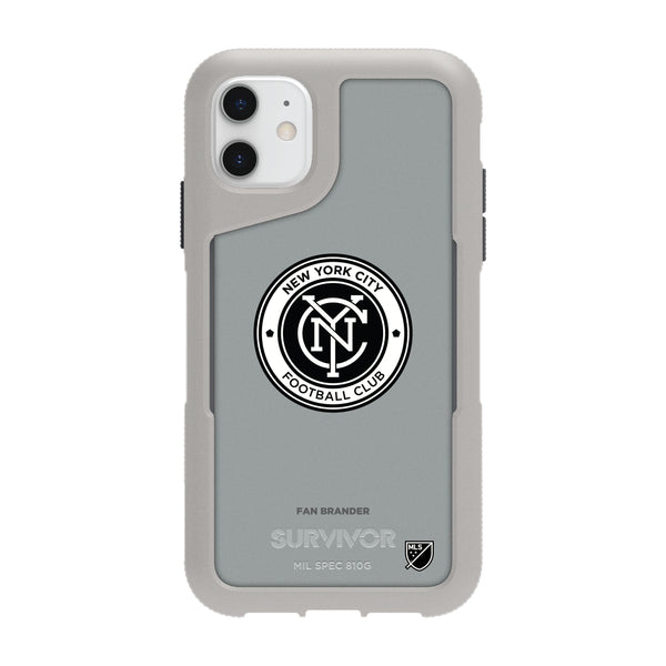 Griffin Survivor Endurance cool grey Phone case with New York City FC Primary Logo in Black and White