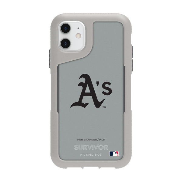Griffin Survivor Endurance cool grey Phone case with Oakland Athletics Primary Logo in Black
