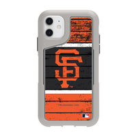 Griffin Survivor Endurance cool grey Phone case with San Francisco Giants Primary Logo on Wood Design