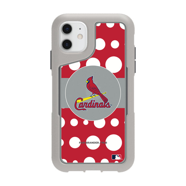 Griffin Survivor Endurance cool grey Phone case with St. Louis Cardinals Primary Logo with Polka Dots