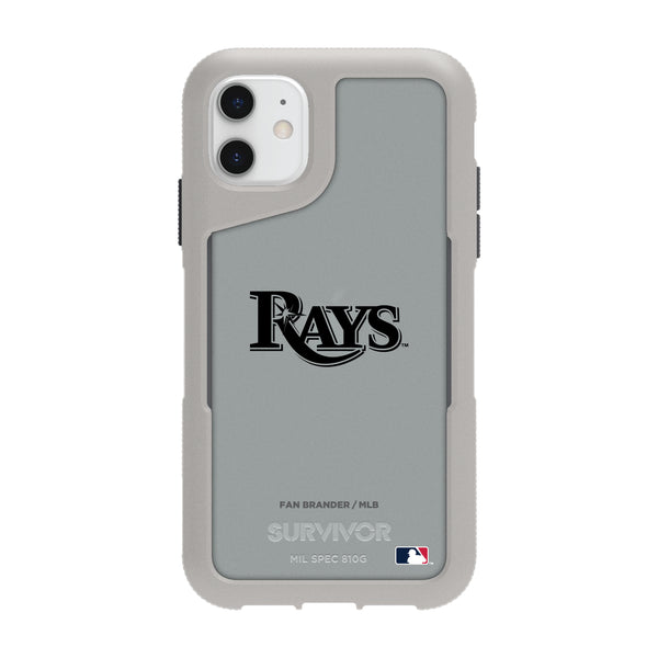 Griffin Survivor Endurance cool grey Phone case with Tampa Bay Rays Primary Logo in Black