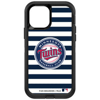 OtterBox Black Phone case with Minnesota Twins Primary Logo and Striped Design