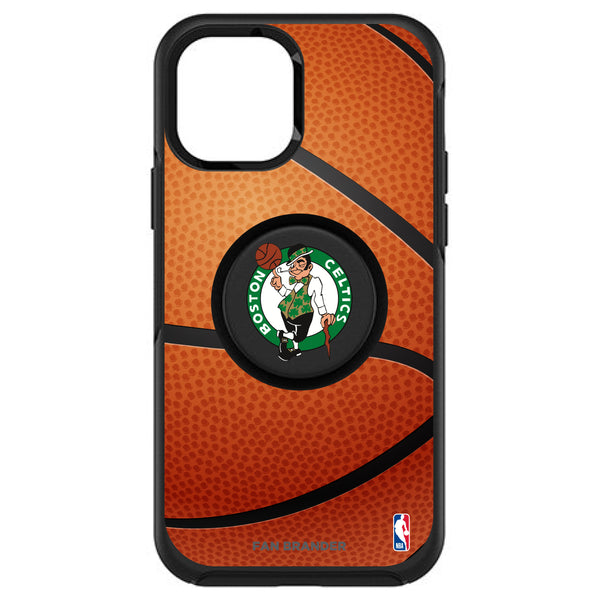 OtterBox Otter + Pop symmetry Phone case with Boston Celtics Primary Logo with Basketball Background