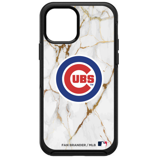 OtterBox Black Phone case with Chicago Cubs Primary Logo on white marble Background