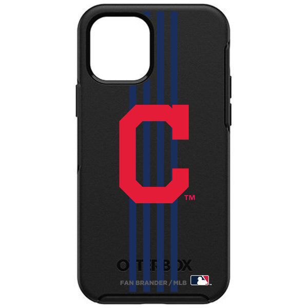 OtterBox Black Phone case with Cleveland Indians Primary Logo and Vertical Stripe