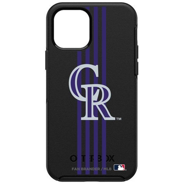 OtterBox Black Phone case with Colorado Rockies Primary Logo and Vertical Stripe