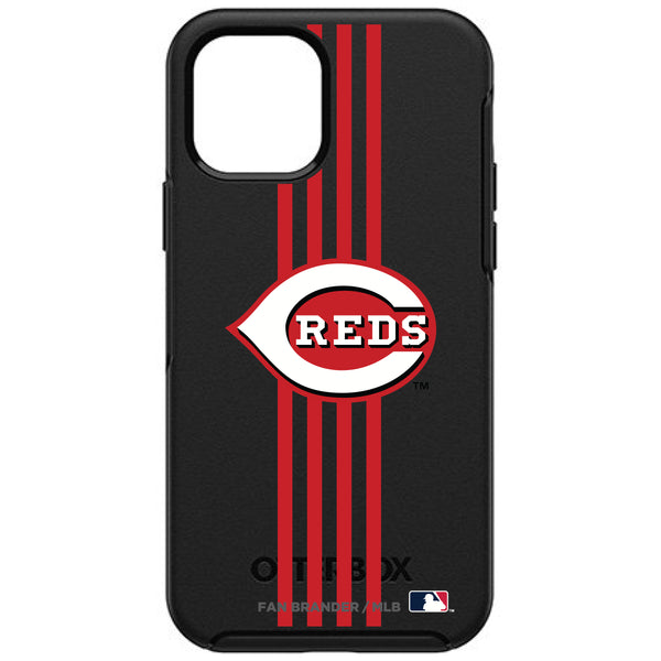 OtterBox Black Phone case with Cincinnati Reds Primary Logo and Vertical Stripe