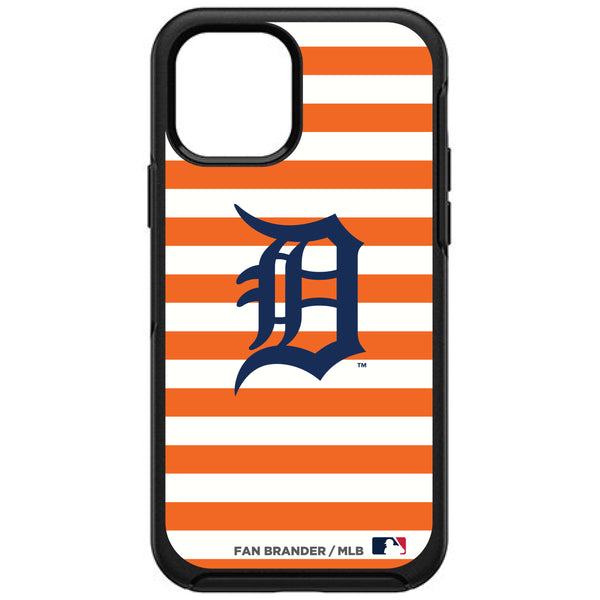 OtterBox Black Phone case with Detroit Tigers Primary Logo and Striped Design