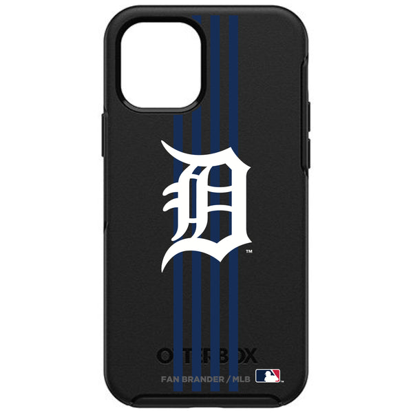 OtterBox Black Phone case with Detroit Tigers Primary Logo and Vertical Stripe