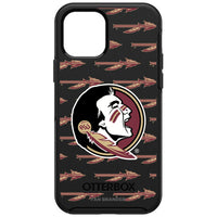 OtterBox Black Phone case with Florida State Seminoles Primary Logo on Repeating Wordmark Background