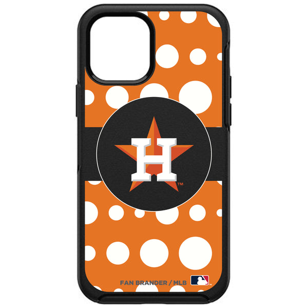 OtterBox Black Phone case with Houston Astros Primary Logo and Polka Dots Design