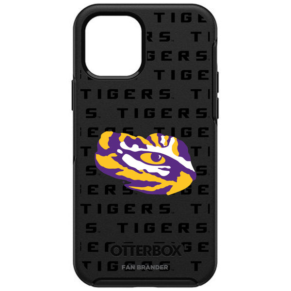 OtterBox Black Phone case with LSU Tigers Primary Logo on Repeating Wordmark Background