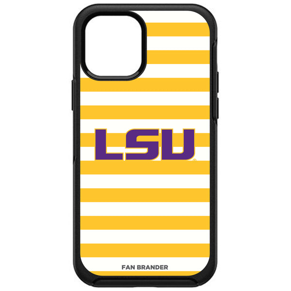 OtterBox Black Phone case with LSU Tigers Primary Logo and Striped Design