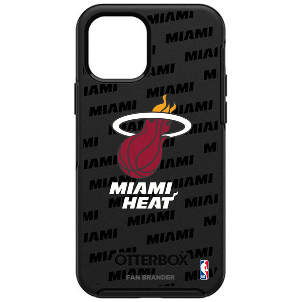 OtterBox Black Phone case with Miami Heat Primary Logo with Repeating Wordmark