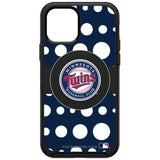 OtterBox Black Phone case with Minnesota Twins Primary Logo and Polka Dots Design