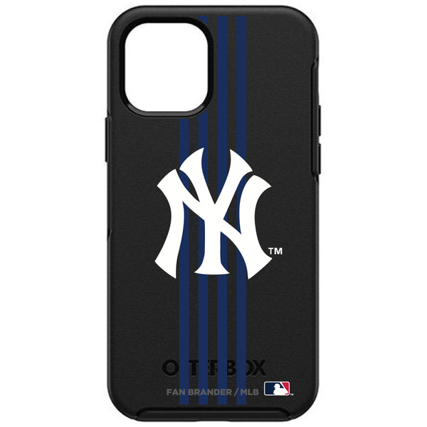 OtterBox Black Phone case with New York Yankees Primary Logo and Vertical Stripe