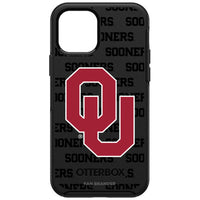 OtterBox Black Phone case with Oklahoma Sooners Primary Logo on Repeating Wordmark Background