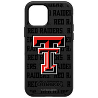 OtterBox Black Phone case with Texas Tech Red Raiders Primary Logo on Repeating Wordmark Background