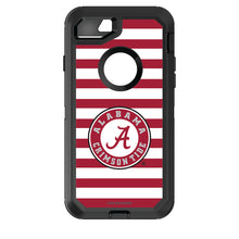 Load image into Gallery viewer, OtterBox Black Phone case with Alabama Crimson Tide Primary Logo and Striped Design