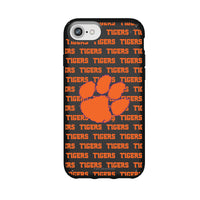 Speck Black Presidio Series Phone case with Clemson Tigers Primary Logo on Repeating Wordmark Background