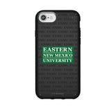 Speck Black Presidio Series Phone case with Eastern New Mexico Greyhounds Primary Logo on Repeating Wordmark Background