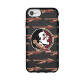 Speck Black Presidio Series Phone case with Florida State Seminoles Primary Logo on Repeating Wordmark Background