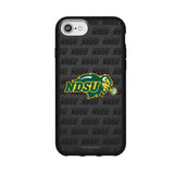 Speck Black Presidio Series Phone case with North Dakota State Bison Primary Logo on Repeating Wordmark Background
