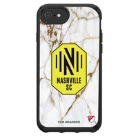 Speck Black Presidio Series Phone case with Nashville SC White Marble Background