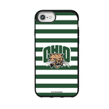 Speck Black Presidio Series Phone case with Ohio University Bobcats Primary Logo and Striped Design