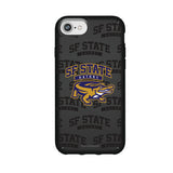 Speck Black Presidio Series Phone case with San Francisco State U Gators Primary Logo on Repeating Wordmark Background