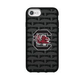 Speck Black Presidio Series Phone case with South Carolina Gamecocks Primary Logo on Repeating Wordmark Background