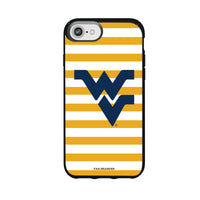 Speck Black Presidio Series Phone case with West Virginia Mountaineers Primary Logo and Striped Design
