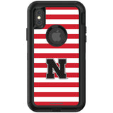 OtterBox Black Phone case with Nebraska Cornhuskers Primary Logo and Striped Design